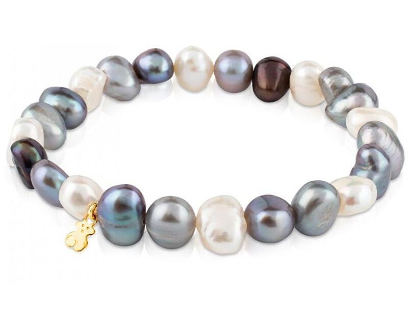 Tous Náramek z pravých perel se zlatým medvídkem 617091030