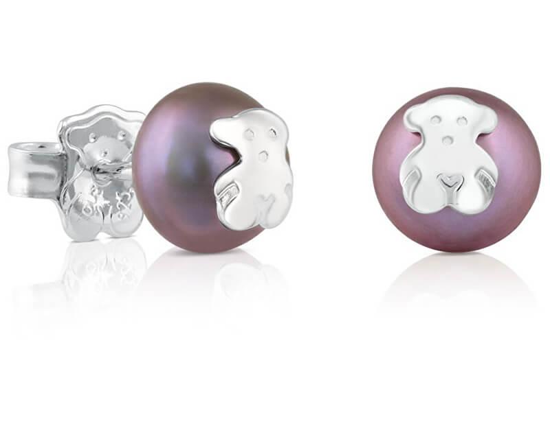Tous Cercei din perle negre autentice cu urs 311143570