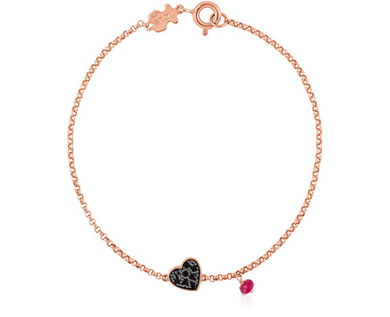 Tous Ružovo pozlátený náramok so srdiečkom a rubínom 314931510-M