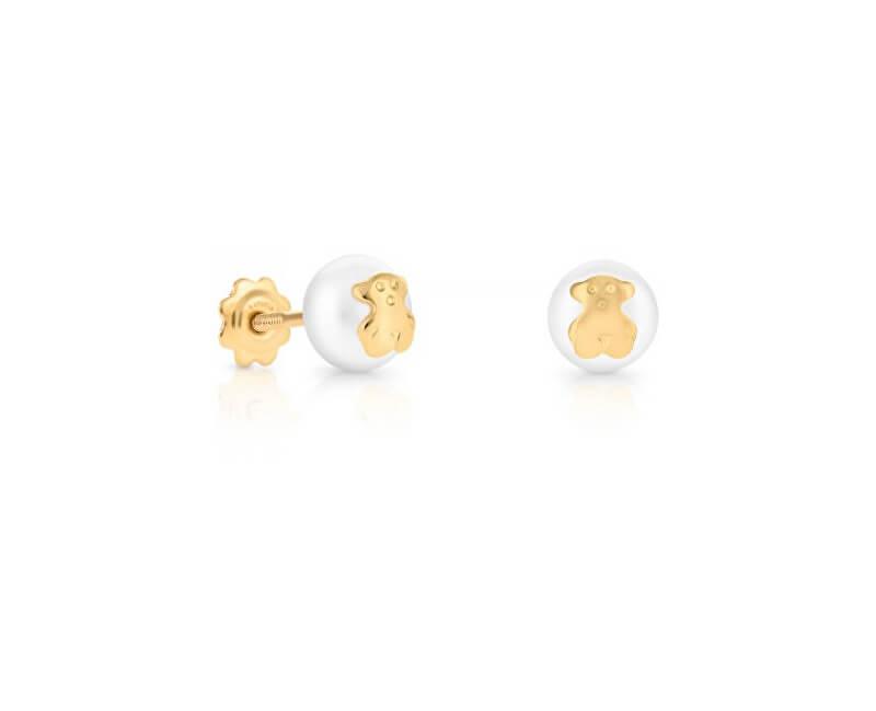 Tous Cercei pentru copii de aur cu perla reala si urs 611003201