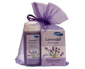 Darčekový balíček v organze Levanduľa (telový šampón 50 ml, tuhé mydlo 50 g)