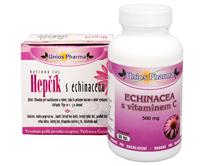 Unios Pharma Echinacea s vitamínem C 500 mg 60 tbl. + čaj Hepčík s Echinaceou 10 sáčků ZDARMA