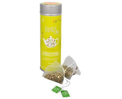 Čaj Citrónová tráva, zázvor & citrusy - plechovka s 15 bioodbouratelnými pyramidkami