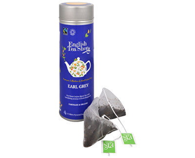 English Tea Shop Čierny čaj Earl Grey s bergamotom - plechovka s 15 bioodbouratelnými pyramídkami