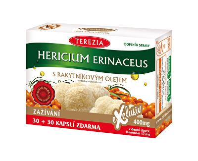 Hericium erinaceus se 100% rakytníkovým olejem 30 kapslí + 30 kapslí ZDARMA