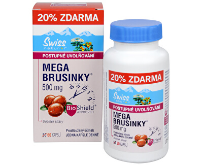 Swiss Natural Sources Mega Brusinky 500 mg 50 kapslí + 10 kapslí ZDARMA