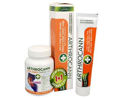 Annabis Arthrocann Collagen Omega 3-6 Forte 60 tbl. + Arthrocann - gél z konope s koloidným striebrom na kĺby, svaly, šľachy 75 ml