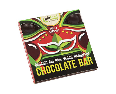 Lifefood Bio čokoláda z nepraženého kakaa s kúskami orechov a čerešní raw 35g