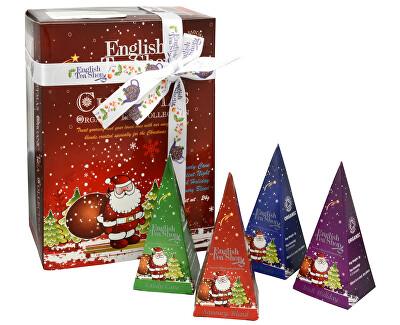 English Tea Shop Dárková kolekce 12 pyramidek Červený Santa 4 příchutě