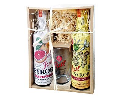 Kitl Syrob dárkové balení (2x500ml+sklenička) grapefruit a zázvor