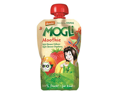 MOGLI Bio Ovocné pyré Moothie jablko banán jahoda bez cukru 100g