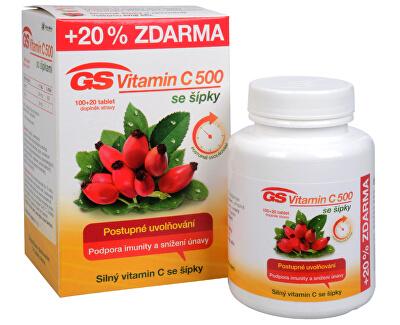 GS Vitamin C 500 + šípky 100 tbl. + 20 tbl. ZDARMA