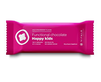 Funkční čokoláda Happy Kids - Milk strawberry Flavor 25g