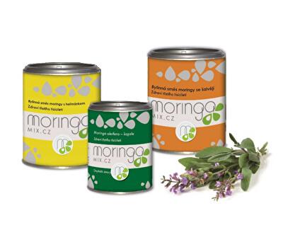 Moringa MIX Bylinná zmes moringy s harmančekom 100 g + Moringou oleifera 180 kapsúl + bylinná zmes moringy so šalviou 100 g