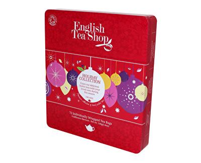 English Tea Shop Plechová kazeta 72 pyramidových sáčků - Červené ozdoby