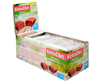 KetoDiet Proteínová tyčinka príchuť Red Berries 14 x 36 g