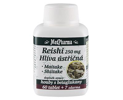 MedPharma Reishi 250 mg + hlíva ústřičná + maitake + shiitake 60 tbl. + 7 tbl. ZDARMA