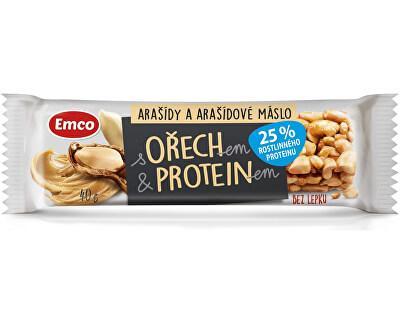 EMCO Tyčinka s ořechem a proteinem - arašídy a arašídové máslo 40g