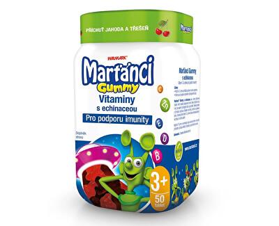 Marťánci Marťánci Gummy vitamíny s echinaceou příchuť jahoda a třešeň 50 ks