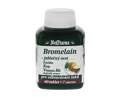 MedPharma Bromelain 300 mg + jablečný ocet + lecitin + kelp + vitamín B6 60 tbl. + 7 tbl. ZDARMA