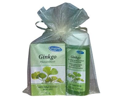 Dárkový balíček v organze Ginkgo (tělový šampon 50 ml, tuhé mýdlo 50 g)