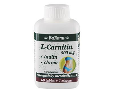 L-Carnitin 500 mg + inulin + chrom 60 tbl. + 7 tbl. ZDARMA