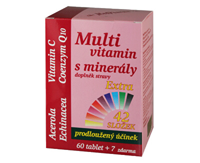 Multivitamin s minerály 42 složek, extra C + Q10 60 tbl. + 7 tbl. ZDARMA