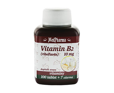 Vitamín B2 (riboflavin) 10 mg 100 tbl. + 7 tbl. ZDARMA