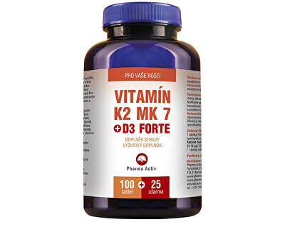 Pharma Activ Vitamín K2 MK7 + D3 FORTE 100 tbl. + 25 tbl. ZD ARMA + zadarmo Fitness náramok s krokomerom