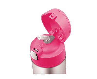 FUNtainer Detská termoska so slamkou - ružová 470 ml