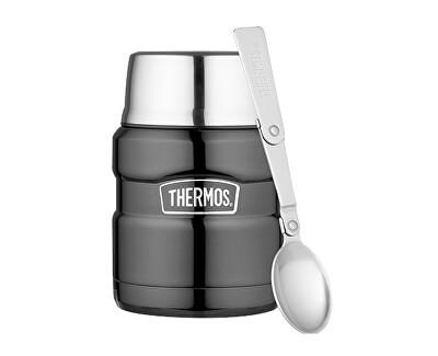 Style Termoska na jedlo sa skladateľná lyžicou a šálkou - metalicky šedá 470 ml