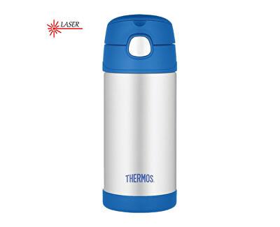 Thermos FUNtainer Detská termoska s slamkou - strieborná / modrá 355 ml