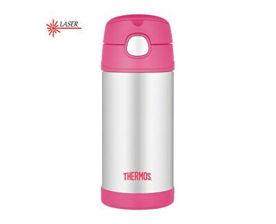 FUNtainer Detská termoska s slamkou - strieborná / ružová 355 ml