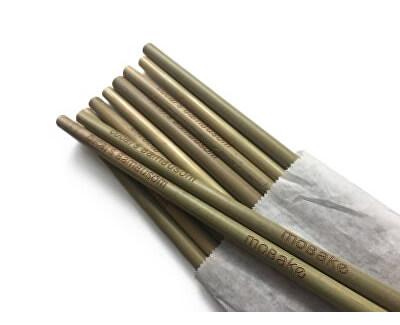 Sada nebalených bambusových slamiek (10 ks)