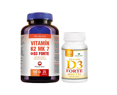 Pharma Activ Vitamín K2 MK7 + D3 FORTE 125 tbl. + Vitamín D3Forte 30 tbl. ZDARMA