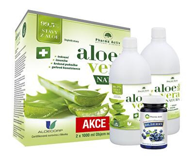 Pharma Activ AloeVeraLife 1+1 ZDARMA (1000 ml + 1000 ml) + Bilberry 55 tablet
