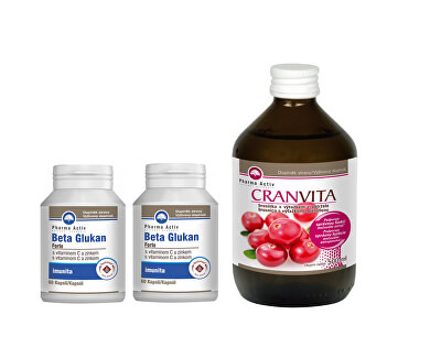 Beta Glukán Forte 1 + 1 60 tabliet + Cranvita 500 ml