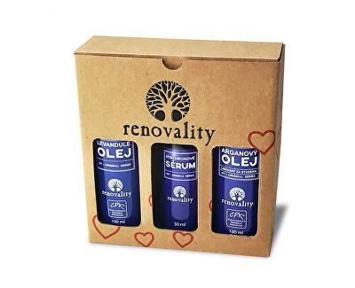 Dárkový balíček - Levandulový, Arganový olej a Hyaluronové sérum - SLEVA - poškozený obal