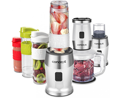 Concept Fresh&Nutri smoothie mixér, chopper, mlýnek, 700 W + láhve 2 x 570 ml + 400 ml bílý SM3391