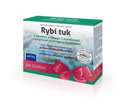 Biotter Pharma Rybí tuk s vitamíny a Omega-3 kyselinami 3 x 60 pastilek