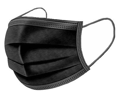 Rouška ústenka MEDICAL 3- vrstvá jednorázová ČERNÁ 50 ks