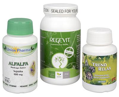 Doporučená kombinace produktů Na Žaludek - Alfalfa + Regevit + Trend Relax
