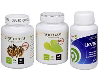 Doporučená kombinácia produktov Cordyceps Premium + LKVB6 + Wild Yam Premium