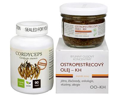 Doporučená kombinácia produktov Na Pečeň - Cordyceps Premium + Ostropestřecový olej (kaša)