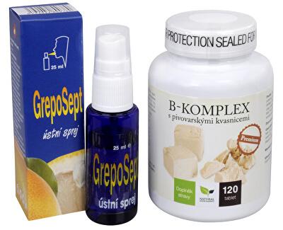 Doporučená kombinace produktů Na Ústa - B-komplex Premium + Greposept-ústní sprej