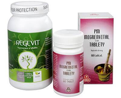 Doporučená kombinace produktů Na Hlavu - Migrenvital elixír + Regevit