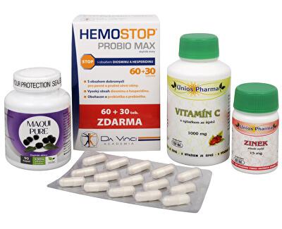 Doporučená kombinace produktů Na Konečník - Maqui Pure + HemoStop ProBio + Vitamín C 1000 se šípkem + Zinek ZDARMA