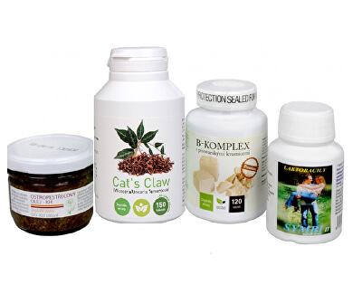 Doporučená kombinace produktů Na Kůži - Cat´s Claw + B-komplex Premium + Symbi II + Ostropestřecový olej (kaše)