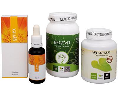Doporučená kombinace produktů Na Menstruaci - Regevit + Gynex + Wild Yam Premium