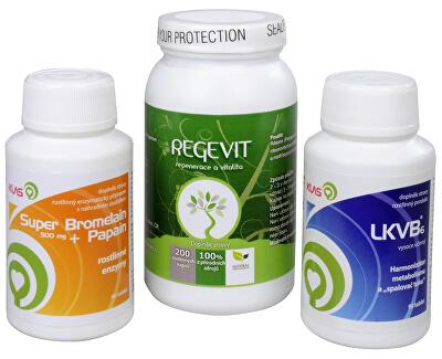 Doporučená kombinace produktů Regevit + Super Bromelain + Papain + LKVB6